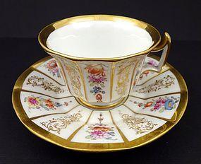 Antique Meissen Floral Demitasse Cup & Saucer