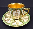 Antique Royal Doulton Green Gilded Demitasse Cup & Saucer