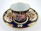 Antique Worcester Blue Scale Coffee Cup & Saucer, c. 1770s
