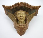 Antique Italian Wooden Hand Carved Cherub Shelf or Bracket