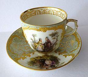 Exquisite Antique KPM Berlin Tea Cup & Saucer