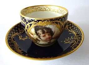 Antique KPM Berlin Art Nouveau Portrait Cup & Saucer