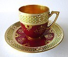 Jeweled Coalport for Tiffany Demitasse Cup & Saucer