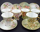 6 Antique Haviland Limoges Hand Painted Chocolate Cups & Saucers