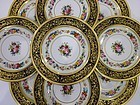12 Elegant Antique Ahrenfeldt Limoges Cobalt Service Plates