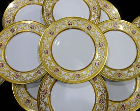 12 Lovely Antique Ahrenfeldt Limoges Dinner Plates