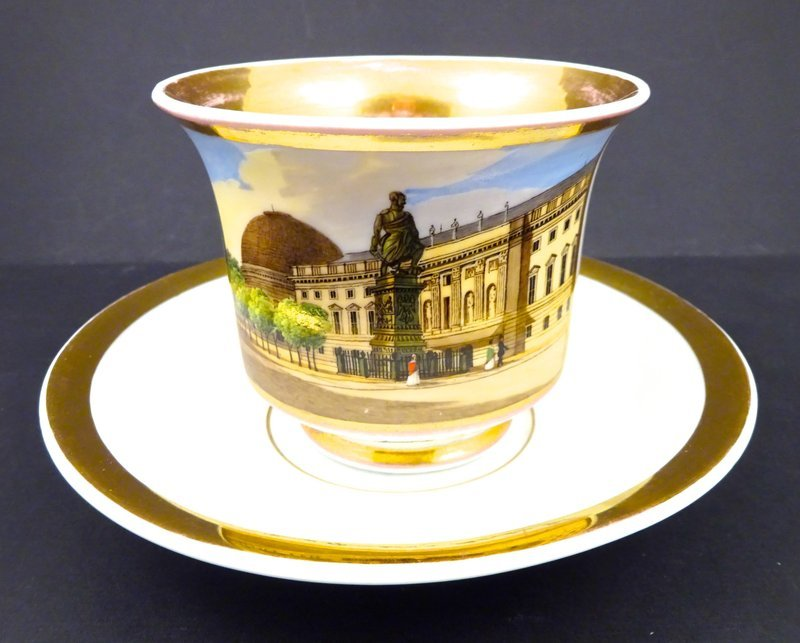 Antique KPM Royal Berlin Topographical Cup & Saucer