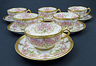 6 Antique C. F. Haviland Limoges 4 O�Clock Tea Cups & Saucers