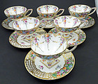 6 Antique Helena Wolfsohn Dresden Pedestal Tea Cups & Saucers