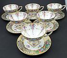 6 Antique Helena Wolfsohn Dresden Pedestal Tea Cups & Saucers