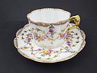 Charming Antique F. Hirsch Dresden Tea Cup & Saucer