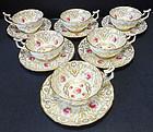 6 Antique Cauldon England Rose Cups & Saucers
