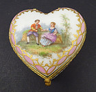 Antique German Porcelain Heart Shaped Trinket Box