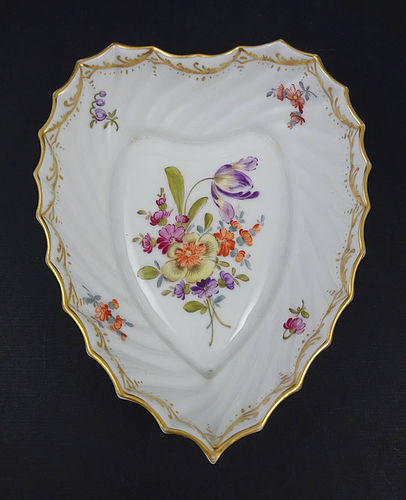 Antique Saxe Dresden Heart Shaped Porcelain Dish