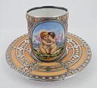 Antique Austrian Silver Overlay Demitasse Cup & Saucer, A