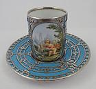 Antique Austrian Silver Overlay Demitasse Cup & Saucer, B