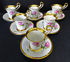 6 Antique Meissen Swan Handled Chocolate Cups & Saucers