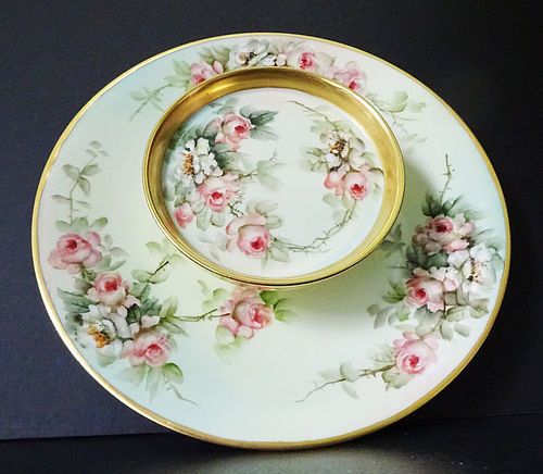 Antique E. Miler Limoges Tier Serving Dish