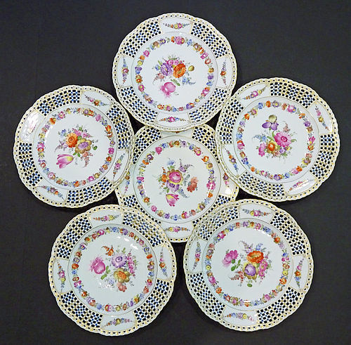 6 Antique Thieme Dresden Reticulated Dessert Plates