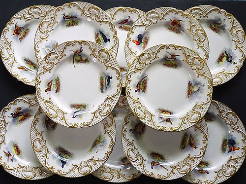 12 Antique Copeland�s for Tiffany Ornithological Plates