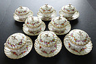 8 Antique Hirsch Dresden Covered Soup Cups & Saucers