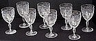 8 Finest Hawkes Engraved Rock Crystal Goblets