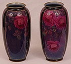 Pair of Royal Doulton Art Deco Vases, Roses
