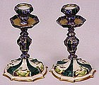 Pair of Early Continental Porcelain Candle Holders