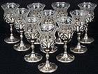 10 Cambridge Etched Sherry Glasses in Sterling Holders