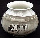 Handsome Heubach Cabinet Vase with Cows