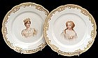 Pair of Le Rosey Portrait Plates by Sevres Artist