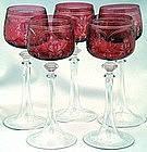 5 Elegant Art Nouveau Engraved Cranberry Glasses