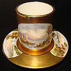 Very Fine Coalport Scenic Miniature Cup and Saucer