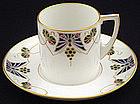 Exquisite Austrian Art Nouveau Enameled Cup & Saucer