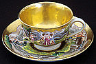 Ornate Antique Capodimonte Cup and Saucer