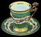 Gorgeous Antique Sevres Chocolate Cup & Saucer