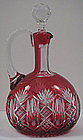 Superb Baccarat Crystal Decanter Cranberry Cut to Clear