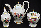 Antique Nymphenburg 3-Piece Floral Tea Set