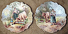 Paris Porcelain Genre Scene Wall Plaques, Matched Pair
