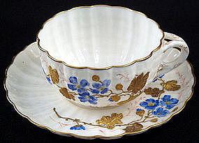 Gorgeous Ott & Brewer Hand Painted Cup & Saucer