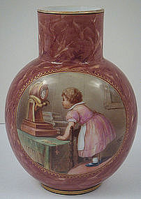 Antique Bohemian Glass Vase, Signed Ahne