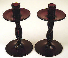 Pair of Vintage Hand Blown Candlesticks