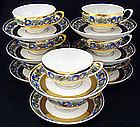 8 Antique KPM Morning Glory Tea Cups & Saucers