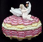Antique Meissen Trinket Box with Cherub & Swan