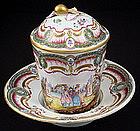 Antique Hochst Trembleuse Covered Cup & Saucer