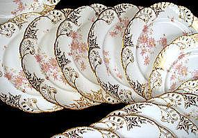 12 Delicate Antique Minton Reticulated Plates