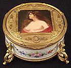Victorian Bronze & Porcelain Portrait Box