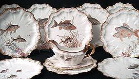 Doulton Burslem Fish Plates with Sauce Boat