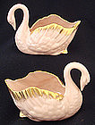 Pair Vintage Lenox Colored Swans