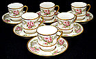 6 Dainty Limoges Demitasse Cups & Saucers